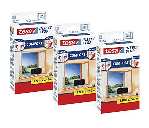 tesa Insect Stop Comfort Fliegengitter für bodentiefe Fenster - Insektenschutz selbstklebend - Fliegen Netz ohne Bohren - anthrazit (durchsichtig), 120 cm x 240 cm (3 Stück)