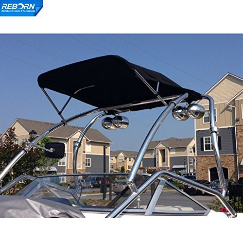 Reborn Catapult Polished wakeboard tower plus Foldable Tower Bimini Package