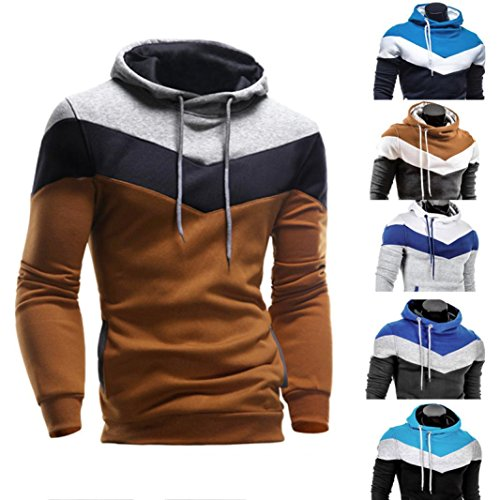 Zulmaliu Autumn Winter Jacket Men Sweatshirt Long Sleeve Hoodie Coat Outwear (L, Gray)