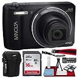 Minolta MN12Z 20 Mega Pixels HD Digital Camera w/12x Optical Zoom (Black) + 16BG + Case + Strap Accessories Bundle