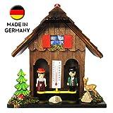 SELVA Wetterhäuschen FREIBURG, Wetterstation, aus Holz, handgefertigt, mit Temperaturanzeige, Schwarzwald-Stil