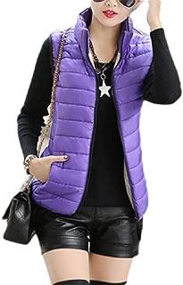 Macondoo Women Slim Fit Jacket Quilted Hooded Stand Collar Zip Up Waistcoat Vest