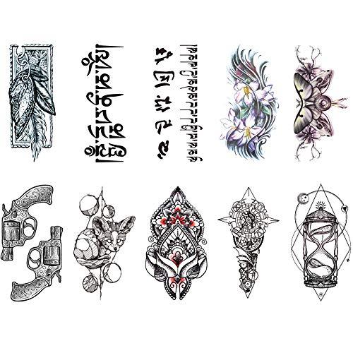 TAFLY Tattoo Sanduhr Blume Arabische Feder Tattoo Wasserdicht Temporäre Tätowierung für Männer Frauen 10 Blatt