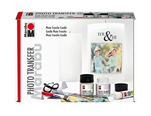 Marabu 1141000000002 - Photo Transfer Candle Set, zum Übertragen von Papierausdrucken auf Kerzen, 50 ml Medium, 50 ml Candle Lack, Pinsel, Rakel und 25 ml Candle Liner silber