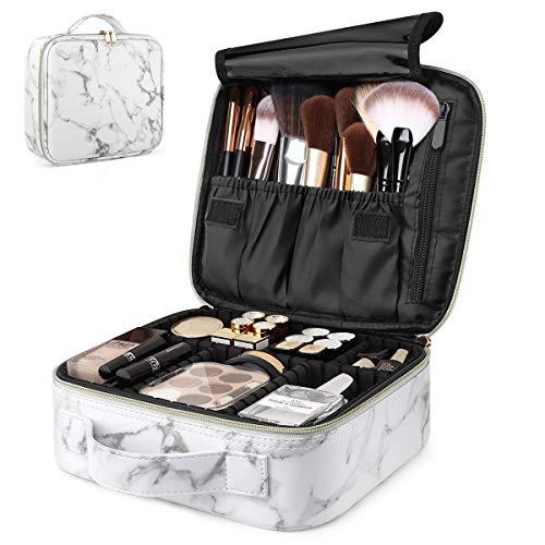 Luxspire Caja de Maquillaje de Viaje, Neceser Maquillaje Portátil, Doble Capa Cosmética Bolsa con Divisores Ajustables para Acomodar Cosméticos, Pinceles de Maquillaje, Joyas - Mármol Blanco