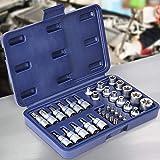 34-tlg. Torx Steckschlüssel Satz - Nüsse Set, Nusssatz, Stecknüsse, Biteinsätze - Steckschlüsseleinsätze, Bits, Torxset, Torxsatz, Innen/Außen Werkzeug