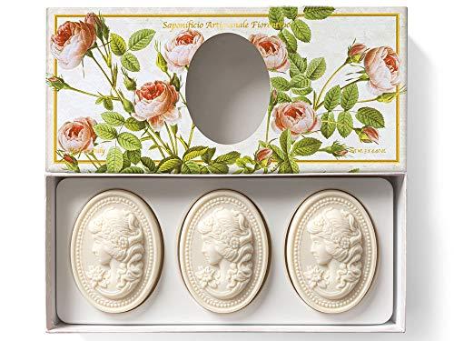 Saponificio Artigianale Fiorentino, handgemachte italienische Rosenseife aus Fiorentino, oval mit Relief einer Kamee, 3x125g