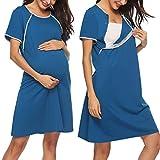 Sykooria Vestido de Lactancia, Ropa de Dormir de Algodón para Premamá, Conjunto de Pijamas de Maternidad Embarazo Ropa de Dormir Suave de Manga Corta para la Madre Que Amamanta