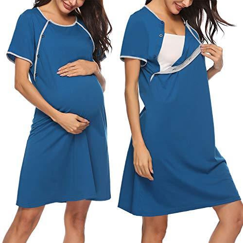 Sykooria restklänning bomull omständigheter natttema, amningseftertema dam amningsshirt kort ärm med knapplås, perfekt för gravida och amningstid, S-XXL