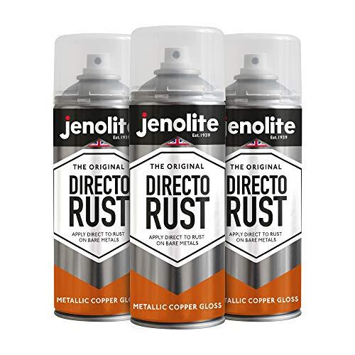Jenolite Directorust, vernice spray metallizzata color rame lucido, applicare direttamente sulla ruggine, primer e finitura, 3 x 400 ml