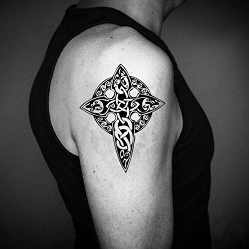 Celtic Cross Temporary Fake Tattoo Sticker (Set of 2) - www.ohmytat.com