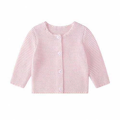 Baby Girls Boys Spring Cardigan Sweaters Toddler Button-Down Cotton Coat Knitted Outerwear Pink
