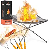 Portable Fire Pit Outdoor Extra Large - 22 Inch Collapsing Steel Mesh Fireplace - Perfect for Camping, Backyard and Garden - Marshmallow Roasting Sticks 5 Pack and Carrying Bag Included