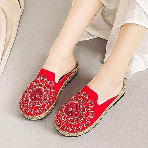 SYXYSM Zapatos Bohemian Lino Hecho A Mano Mujeres Alpargatas Plataformas Zapatillas Cerrar Toe Lienzo Lienzo Diapositivas Planas Bordados Zapatos De Verano Zapatos Huesos