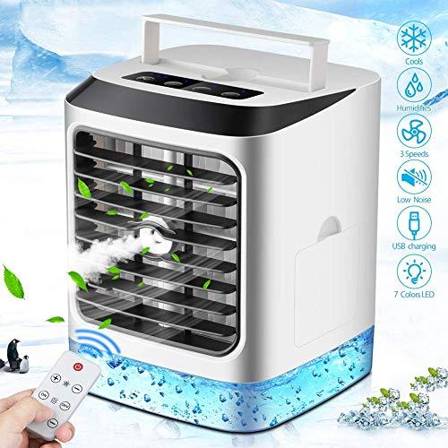 Mobile Klimageräte Luftkühler Mini Persönliche Klimaanlage, Luftbefeuchtung Ventilator Nachtlicht 3 Leistungsstufen 7 Ideal Für Arbeitsplatz Und Daheim
