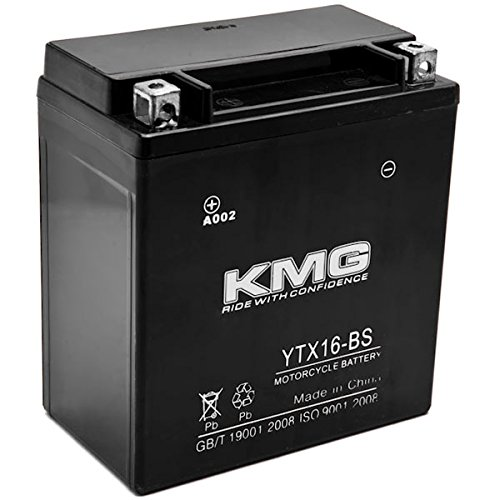 KMG YTX16-BS Battery Compatible with Kawasaki 1600 VN1600 Vulcan Mean Streak 2004-2009 Sealed Maintenance Free 12V Battery High Performance SMF OEM Replacement Powersport Motorcycle ATV Snowmobile