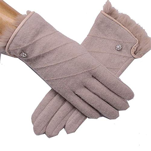 Z-GJM Handschoenen - Outdoor Wol Handschoenen Vrouwelijke Pols Mond Bont Imitatie Lederen rand Herfst en Winter Warm Enkele Laag Punten zijn Dun Rijden Antislip Handschoenen Sport