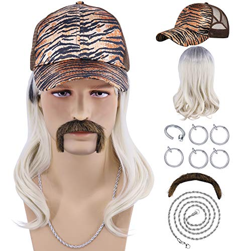 Cfalaicos Tiger King Joe Exotic Costume Wig with Hat (Tiger Pattern Hat + Wig Set)