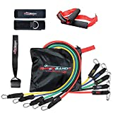 Resistance Bands - 11pc Set - With Door Anchor & Ankle Strap for Legs Workout & Carry Case - Heavy Duty Anti-Snap Technology - Bonus 20 Muscle Building Workouts Ebook