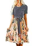 MEROKEETY Women's Stripe Floral Print Short Sleeve Tie Waist Swing Midi Dress with Pockets