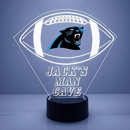 Mirror Magic Store Football Sports Fan Lamp/Night Light - LED - Personalize for Free - Featuring Licensed Decal (Panthers (Carolina))