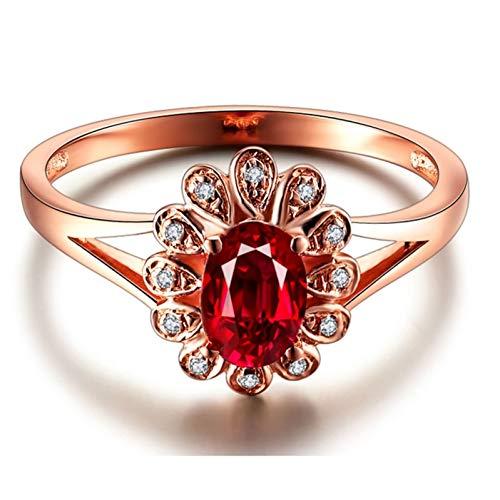 Ubestlove Rosegold Ring Frauen Abschiedsgeschenk Freundin Sonnenblume 0.5Ct Rubin Ring 0.5Ct 56