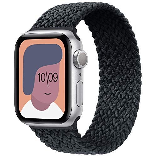 AUNDYYU Correa Solo Loop Trenzada Compatible con Apple Watch 38mm 40mm 42mm 44mm para iWatch Series 6 SE 5 4 3 2 1, Elástica Fibras Pulsera Repuesto Deportiva Mujer Hombres, 42mm/44mm #07 Charbon
