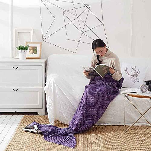 XILIUHU Handgefertigt aus Gewirken Mermaid Decke schlafen Wickeln Fernseher Sofa Mermaid Schwanz Decke Kinder Adult Baby gehäkelte Tasche Bettwäsche Plaids Tasche, lila, 70 x 140 cm