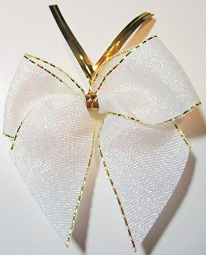 CaPiSo 24 Stück Lurex-Glitzer-Schleifen Weihnachtsbaum 6 cm mit extra langem Befestigungs-Clip (Weiss-Gold)