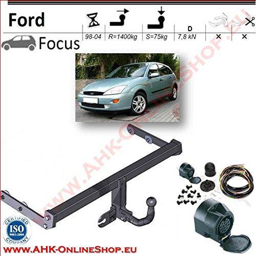 AHK Anhängerkupplung mit Elektrosatz 13 polig für Ford Focus 1998-2004 Schrägheck Anhängevorrichtung Hängevorrichtung - starr, mit angeschraubtem Kugelkopf