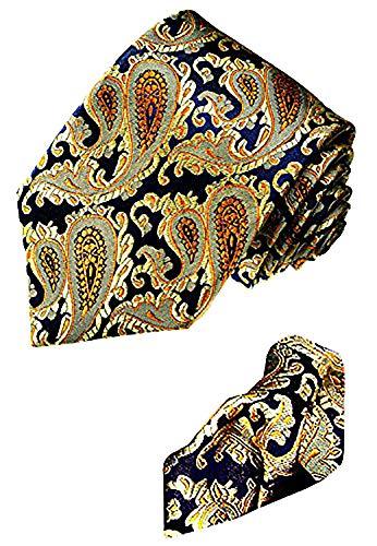 Lorenzo Cana - Marken 2er Set - Blau Gold Krawatte und Einstecktuch - Paisleymuster 100% Seide - 1202501
