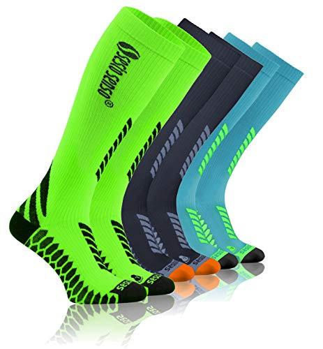 Sesto Senso Calcetines de Compresión Deporte Colores Altos Hombre Mujer 1 y 3 Pares 39-42 3 pack Gris Grafito Verde Turquesa
