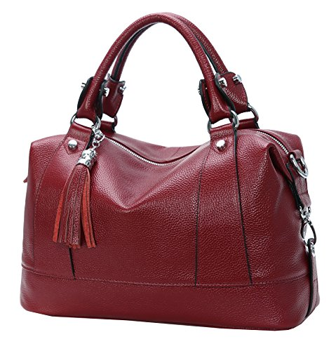 Heshe Leather Shoulder Bag Womens Tote Top Handle Handbags Cross Body Bags for Office Lady (Wine)
