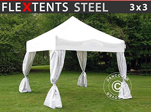 Carpa Plegable Carpa Rapida FleXtents Steel 3x3m Blanco, Incl. 4 Cortinas Decorativas
