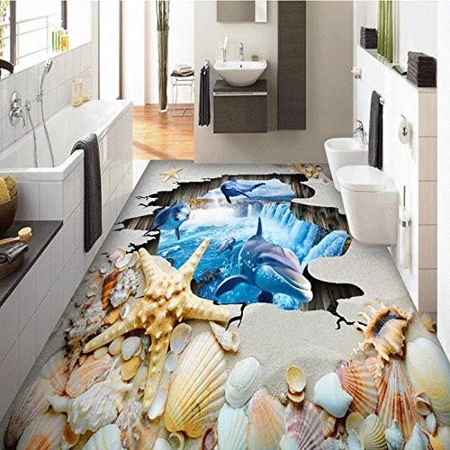 Azulejos de piso 3D Papel tapiz mural Personalización personalizada Desgaste Antideslizante Impermeable Engrosado Autoadhesivo Conchas de playa Pegatinas-250 * 175cm