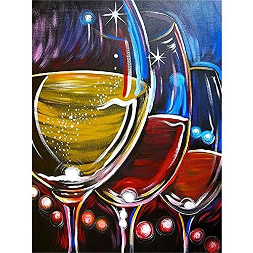 Diamond Painting Kit Completo Round Taladro Copa de vino tinto de color...