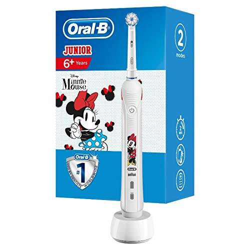 Oral-B Junior Minnie Mouse Elektrische Zahnbürste für Kinder ab 6 Jahren, weiche Borsten & visuelle Andruckkontrolle für extra Zahnfleischschutz, 2 Putzprogramme inkl. Sensitiv, Timer, weiß