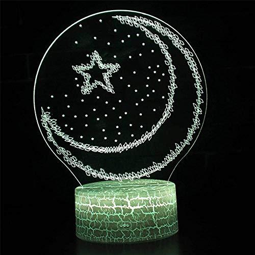 Mubarak Ramadan - Lámpara de mesa con luces LED ópticas 3D, luz nocturna de 16 colores con cambio gradual y interruptor táctil USB para regalos de vacaciones o decoración del hogar para niños