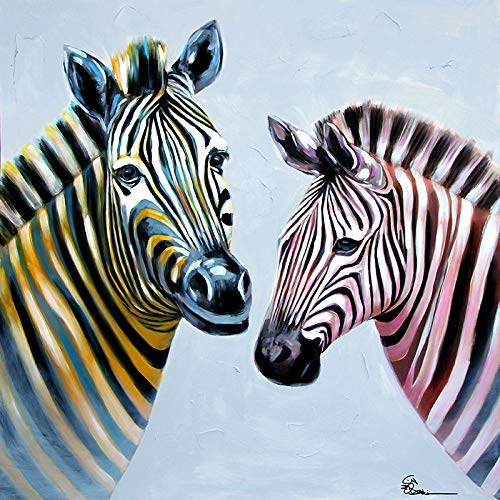 GWFVA Xiangyun gemonteerd de wind realistische hand geschilderd schilderij, olieverf zebra paard, de succesvolle hal gang 80 * 80Cm