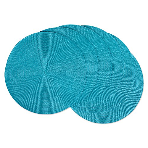 DII Classic Woven Round Placemat for Indoor/Outdoor Table Settings, Everyday Use, Family Dinners or Holidays, 15' Diameter, Aqua, 6 Count