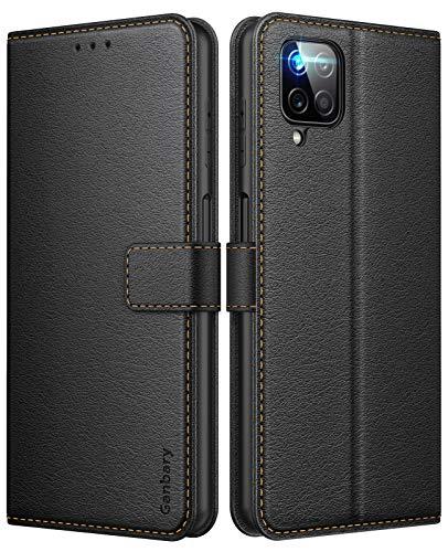 Ganbary Coque Samsung Galaxy A12/M12, [Housse en Cuir PU Premium] [Pochette de Portefeuille] [Étui à Rabat], avec Fentes pour Cartes pour Samsung Galaxy A12/M12 - Noir