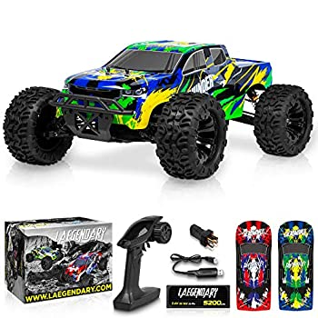 1 10 Scale Brushless RC Cars 65 km/h Speed - Boys Remote Control Car 4x4 Off Road Monster Truck Electric - All Terrain Waterproof Toys for Kids and Adults -2 Body Shell + Connector for 30+ Mins Play