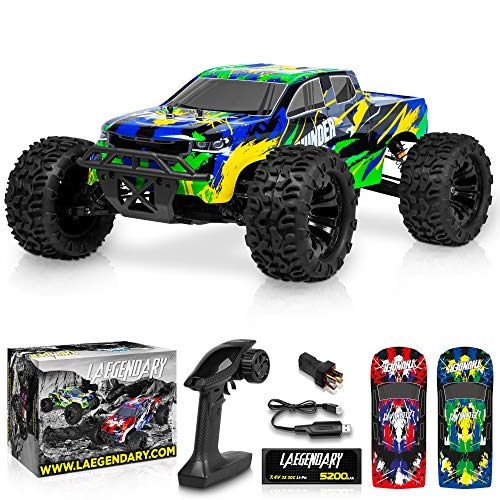 1:10 Scale Brushless RC Cars 65 km/h Speed - Boys Remote Control Car 4x4 Off Road Monster Truck Electric - All Terrain Waterproof Toys for Kids and Adults - 2 Body Shells + Connector for 30+ Mins Play