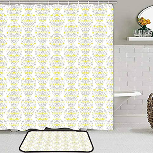 ParadiseDecor Shower Curtain and Rug Set Grey and Yellow,Victorian Style Flowers Leaves Swirls Ombre Design Art Image,Light Grey and Marigold Indoor Outdoor Carpet
