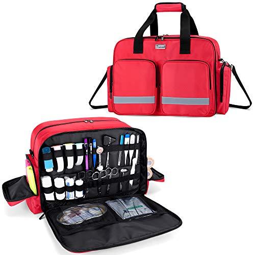 Trunab Bolsa Médica para Suministros Vacía Rojo, Bolsa de Enfermera Bolsa de Rescate Profesional con Capa Acolchada para Portátil, Caso de Enfermera a Domicilio