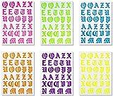 FDGSD 6PCS / Set Decorativo DIY Nail Art Mariposa/Llama/Nube/Letra Efecto Luminoso Pegatinas para decoración de uñas Calcomanías de uñas Fluorescentes 3D (Carta)