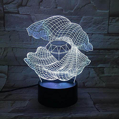 Mother of Pearl 3D Night Light Led 7 Colors Changing Shell Desk Table Lamp Furnishing Diamond Shape Lamp As Home Decor Gift