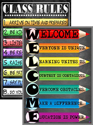 Welcome Poster and Class Rules Poster- Laminated, Size 14x19.5 in.- Back To School Classroom Decorations, Educational Posters, Teacher Supplies for Kindergarten, Elementary, and High School