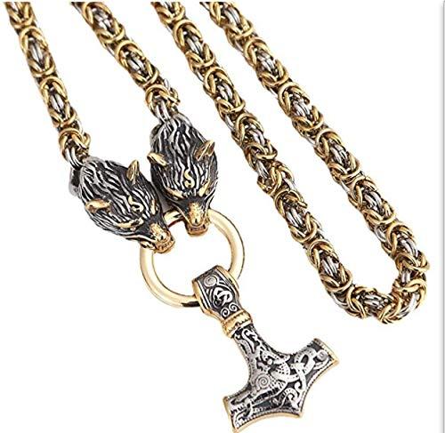 GUOSHUFANG Collar de acero inoxidable pesado con cabeza de lobo para hombre, colgante de martillo de Thor, con cabeza de lobo, bizantina, hecho a mano, cadena King Chain Norse, Amulet, regalo de 70 cm