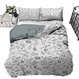 Coverlet Set Money Luxury Shaggy Duvet Cover Set Monochrome Pattern with Euro Dollar Yen Symbols Coins Piggy Bank Stock Graphs Doodle Decorative 3 Piece Bedding Set with 2 Pillow Shams, King Size